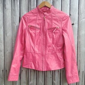 Pink leather Neiman Marcus motorcycle jacket